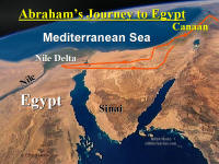 Photo map showing Abraham's journey to Egypt, then Canaan.