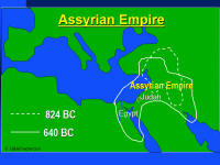 A graphic map showing the extent of influence of the Assyrian Empire at various times during the Old Testament.