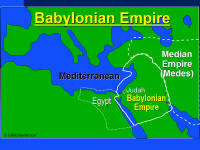 A graphic map showing the extent of influence of the Babylonian Empire.