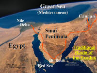 Photo map showing traditional route of the Exodus of the Jews from Egypt.