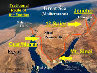 Photo map showing major events of the Exodus of the Jews from Egypt.