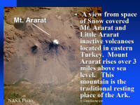 Satellite photo of Mr. Ararat, Turkey where Noah's Ark came to rest.