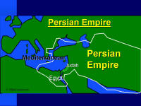 A graphic map showing the extent of influence of the Persian Empire.